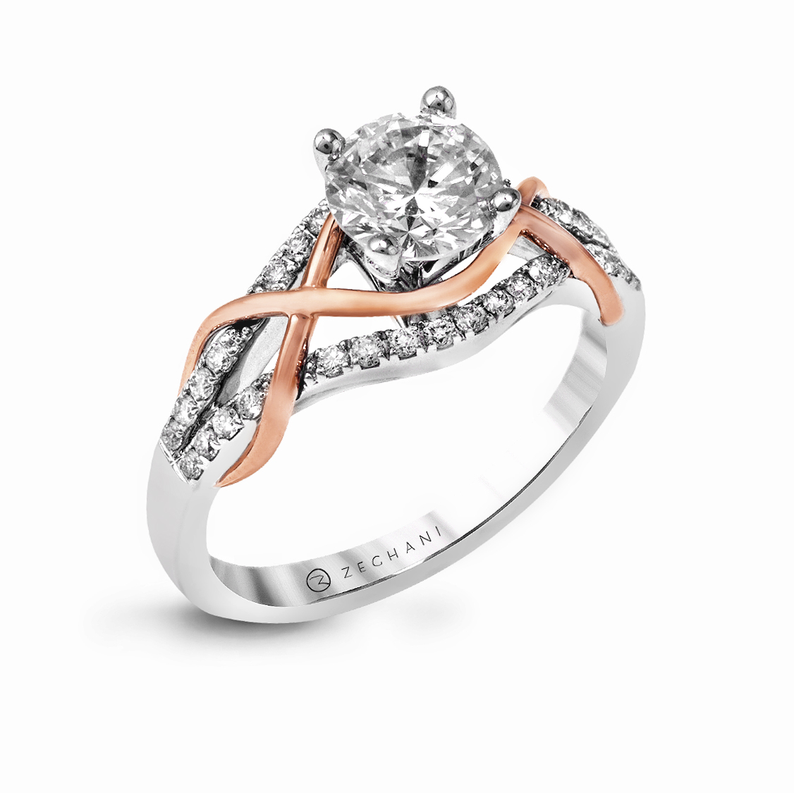 5d39190a4 14Karat white and Rose Gold Engagement Ring .25D - Simon Jewelers